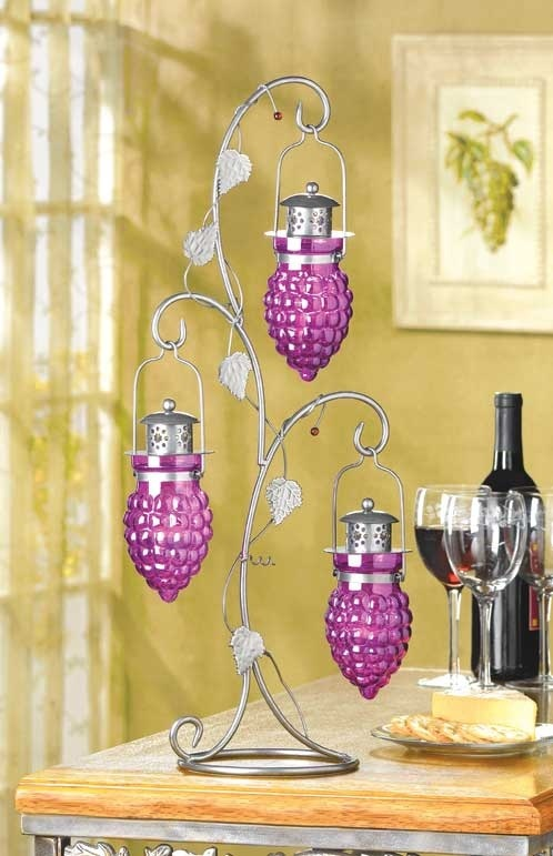 Candle Holder Hanging Grapes Ivy Leaf Iron Tree Votive or Tea Light Glass Cups