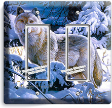 Wild Gray Wolf Winter Forest 2 Gfi Switch Outlet Wall Plate Cover Room Art Decor - $8.99