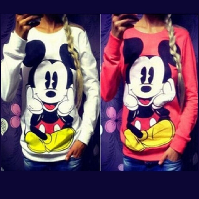 Cartoon Mouse Character Front N Back Printed Long Sleeve Cotton Sweat Shirt