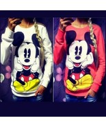 Cartoon Mouse Character Front N Back Printed Long Sleeve Cotton Sweat Shirt - $59.95