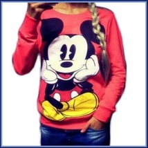 Cartoon Mouse Character Front N Back Printed Long Sleeve Cotton Sweat Shirt image 2