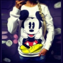 Cartoon Mouse Character Front N Back Printed Long Sleeve Cotton Sweat Shirt image 5