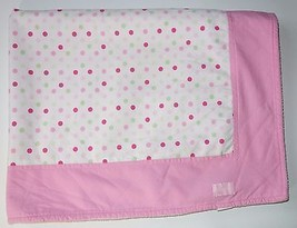 Girls Babylicious Pink & Green Polka Dot 100% Cotton Fleece Security Blanket VGC - $11.29