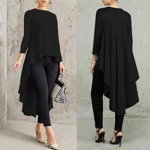 Asymmetrical Tunic Tops Women's Blouse Spring Chemise 2019 ZANZEA Pleate... - $18.84+