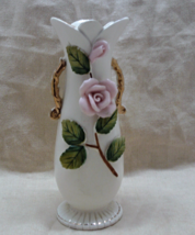 Vintage Wales Japan Porcelain Applied Rose Vase // Shabby Cottage Decor - $8.50
