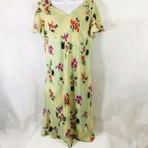 R&K Originals Green Floral Dress Womans Size 16 Flutter Sleeves  - $35.00