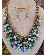 WOMEN'S COLORFUL BLUE CLUSTERS GLASS AND GEMSTONES  BIB NCKLACE AND EARR... - $16.81