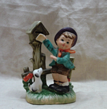 Vintage Hummel Style Little Boy with Dog at Mail Box - Japan - $12.00