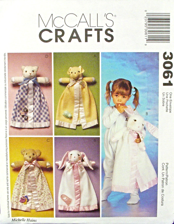 McCall's Crafts 3061 Bear Kitty Puppy Bunny Animal Blanket Buddies Pattern