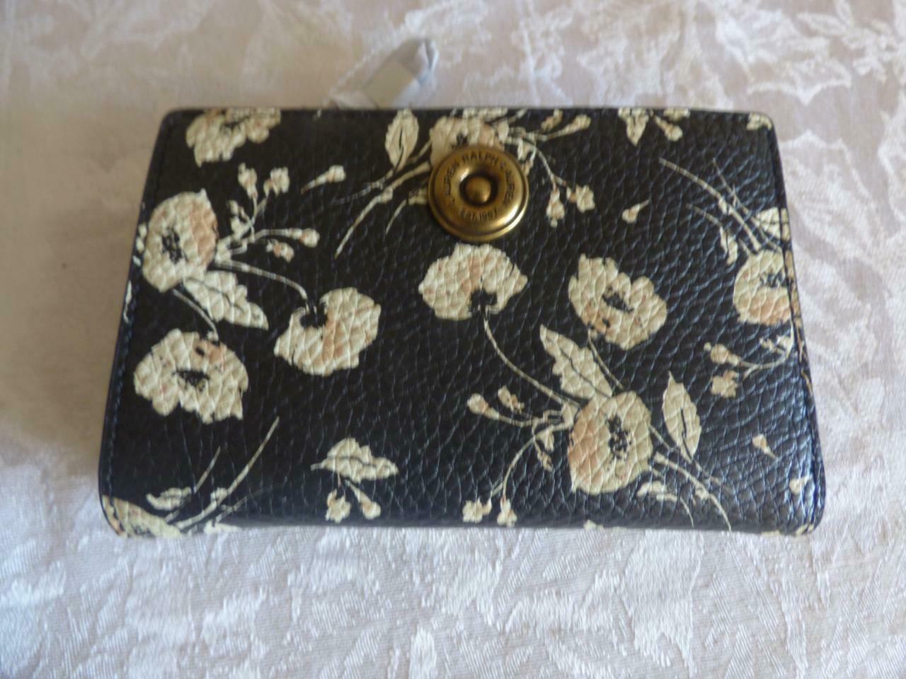 $88.00 Lauren Ralph Lauren Millbrook Compact Wallet, Black Floral