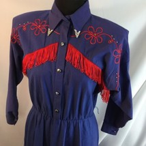 Vtg Lilia Smitty Western Square Dance Fringe Dress Circle Skirt Blue Red M - $64.35