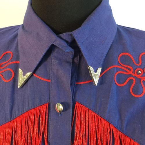 Vtg Lilia Smitty Western Square Dance Fringe Dress Circle Skirt Blue Red M