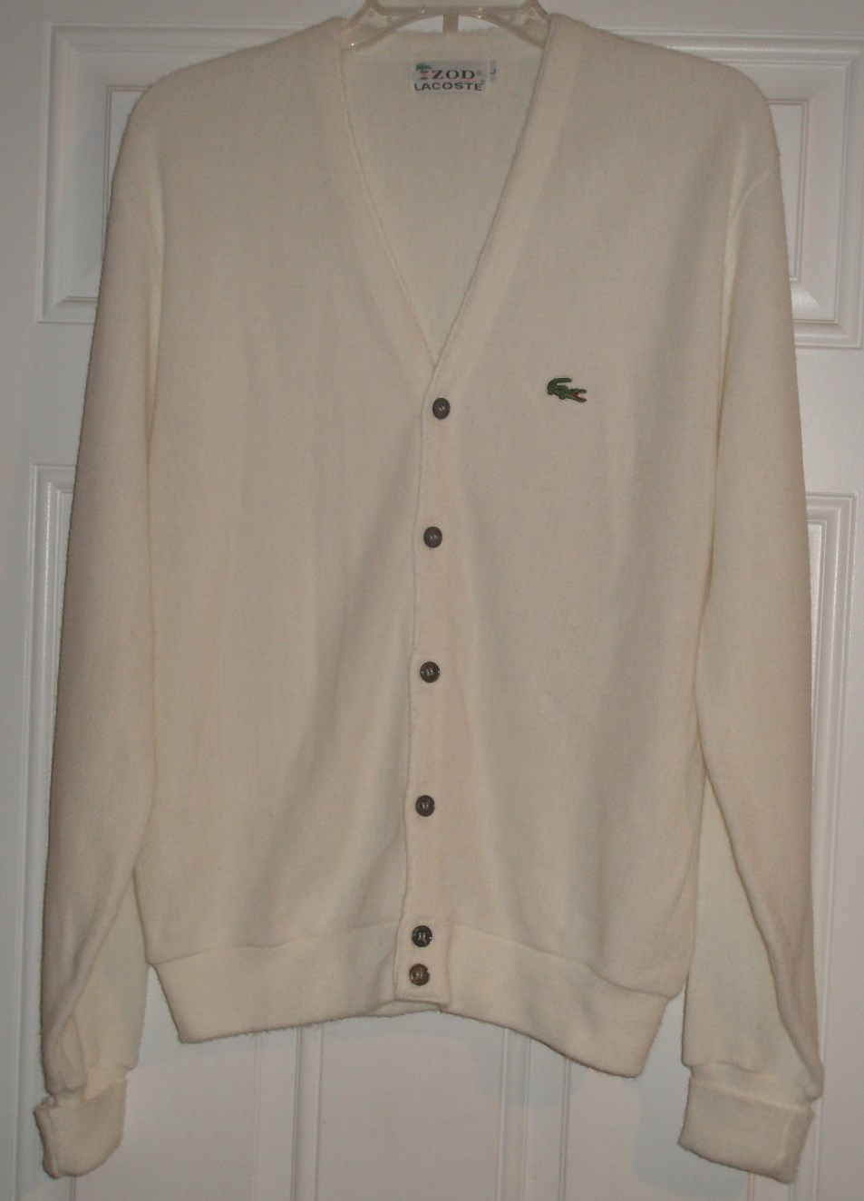 9e2368a2b New Izod Lacoste Vintage Ivory Cardigan Sweater Mens Size L -Large