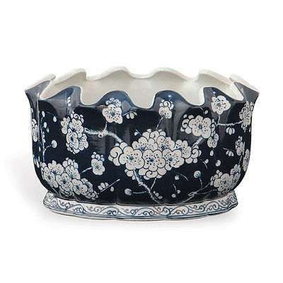 Cherry Blossom Sakura Motif Blue and White Porcelain Scallop Rim Planter Pot