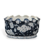 Cherry Blossom Sakura Motif Blue and White Porcelain Scallop Rim Planter... - $148.49