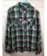 Old Navy Mens Flannel Shirt Green Brown White Plaid Size M 100% Cotton EUC - $12.18