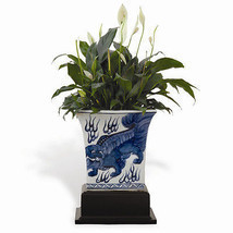 Beautiful Blue and White Square Chow Planter w Wooden Stand Foo Dog - $215.33 CAD