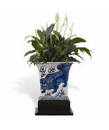 Beautiful Blue and White Square Chow Planter w Wooden Stand Foo Dog - $168.29