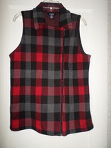 CHAPS PLAID FULL ZIP SWEATER VEST MISSES LARGE NWT$79 - $24.74