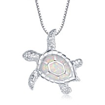 Jewelry [Health and Longevity] RhodiumPlated Silver Created White Opal Turtle - $113.11