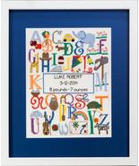 Bright Alphabet Birth Sampler cross stitch chart Bobbie G Designs - $10.80