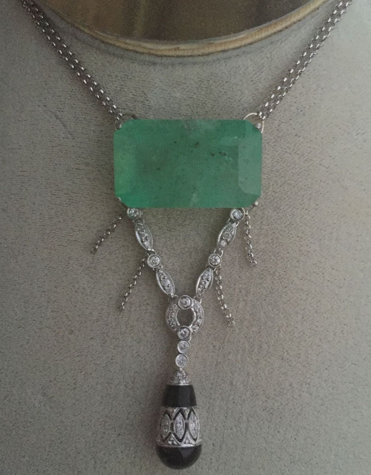 New Huge Estate 37ct Colombian Emerald .5ct Diamond 18k white gold onyx necklace
