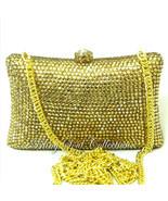 GOLD SWAROVSKI CRYSTALS Evening Bag, Golden Crystal Clutch Purse, Wedding Gift - $197.00