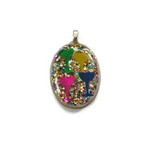 nye new year's eve resin champagne rainbow silver oval pendant necklace ... - $9.99