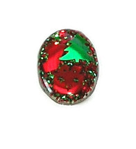 christmas xmas oval red green brooch pin silver jewelry tree gift present - $14.99