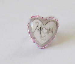 silver heart mom mother's day pink glitter adjustable ring jewelry resin  - $9.99