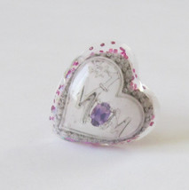purple heart love #1 mom mothers day pink glitter silver ring jewelry ad... - $9.99