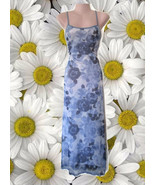 1990 vintage sheer slip stretch floral blue white maxi dress size extra ... - $44.99