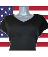 1970s vintage black lbd empire minimalist maxi long dress size medium 6 8 - $49.99
