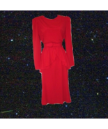 rockabilly clothing red dress peplum belt midi skirt size 8 10 medium large - $75.99