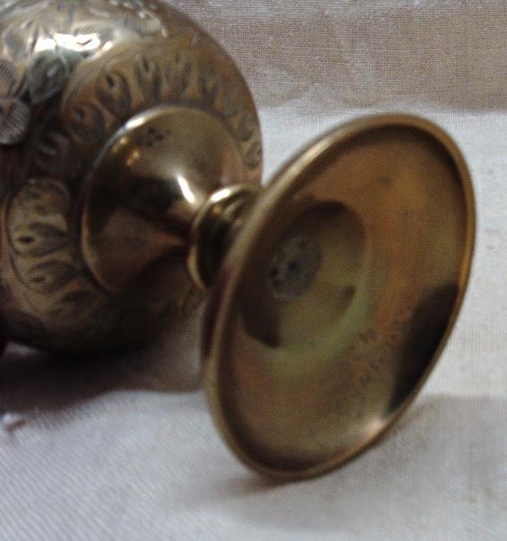 Vintage  Mid Century Etched Brass J.D. India Vase Pitcher Home Decor Bohemian