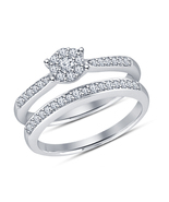 925 Solid Silver 14k White Gold Finish White Diamond Engagement Bridal R... - $68.99