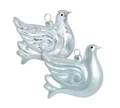 Pair of 2 Icy Blue Dove Glass Ornaments [Kitchen]