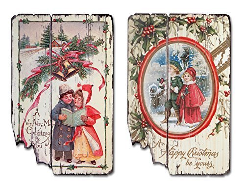 Pair of Christmas Wall Plaques Vintage Look [Kitchen]