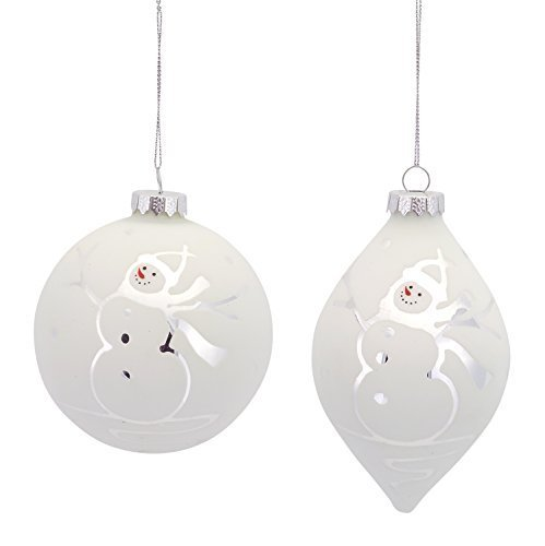 Pair of White Etched Snowman Contemporary Glass Ornaments [Kitchen]