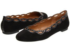 Elie Tahari Arlington Ballerina Black Kid Suede Women's Slip On Flats Si... - $63.36