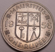 Large Gem Unc Mauritius 1956 Rupee~Fantastic~1st Year Ever~Free Shipping - $9.30