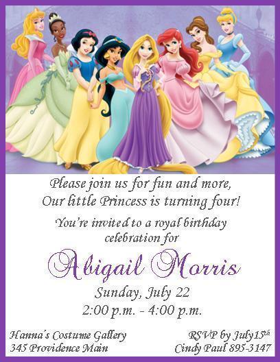 12 Custom Disney Princesses Invitations and similar items