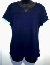 Chaps Denim Women's XL Navy Blue Top With Chest Lace Insert Blouse Shirt Top  - $18.53