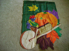 Halloween Thanksgiving Autumn Pumpkin in Wheelbarrow Garden Flag - $23.83 CAD