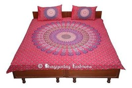Indian Mandala 100% Cotton Red Beding Bed Sheet With Pillow Cover Tapest... - $25.24