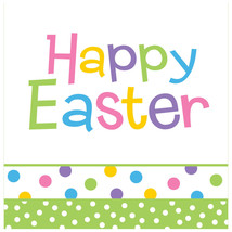 Happy Easter Chick Celebration 16 Lunch Napkins Spring Party Dot - $3.79