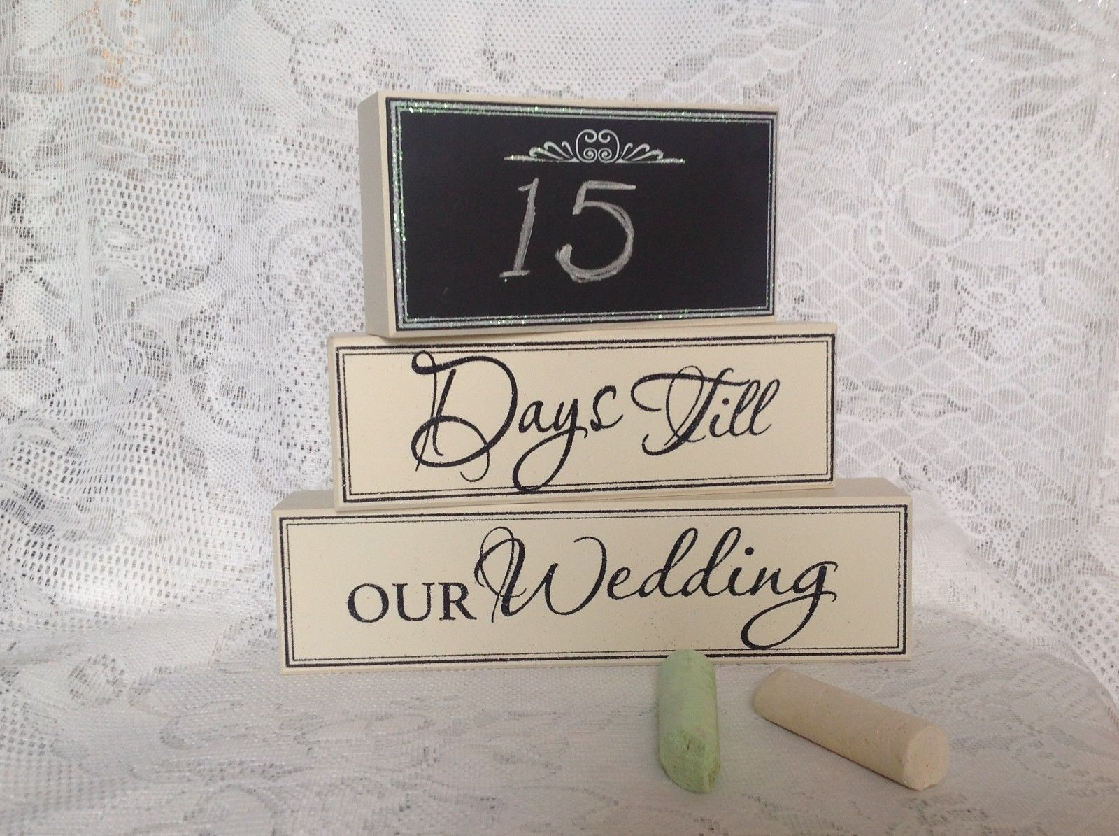 Chalkboard Countdown blocks Days Until Our Wedding Multipurpose stacking blocks
