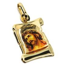 Pendentif Médaille en or Jaune 750 18K, Visage Christ, Parchemin avec Émail image 1