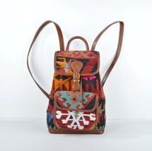 Leather Backpack,kilim Backpack,colorful Backpack,hand bags,rug Leather Backpack - $210.00