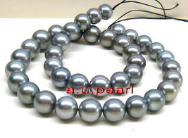 "AAA 17""12-15mm Natural REAL ROUND south sea silver gray pearl necklace 1... - $1,016.50"